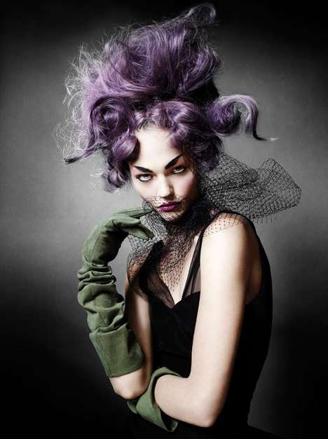 Disheveled Purple 'Dos - The Mario Testino Shoots Sasha Pivovarova for V Magazine