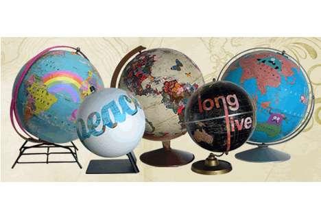 Graffitied World Globes