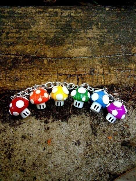 Show Off Your Geeky Side with the Rainbow Super Mushroom Charm Bracelet