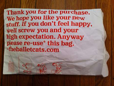 Insulting Packaging - The Balletcats Cheeky Bag is Humorous and Obnoxious