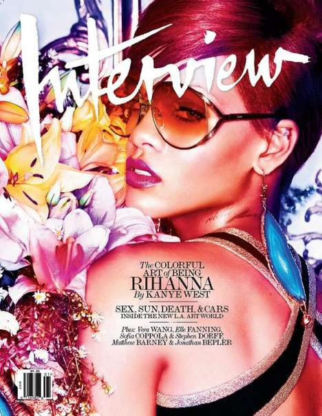 Vibrant Pop Star Covers - The Rihanna Interview Magazine Issue is Blazing Hot