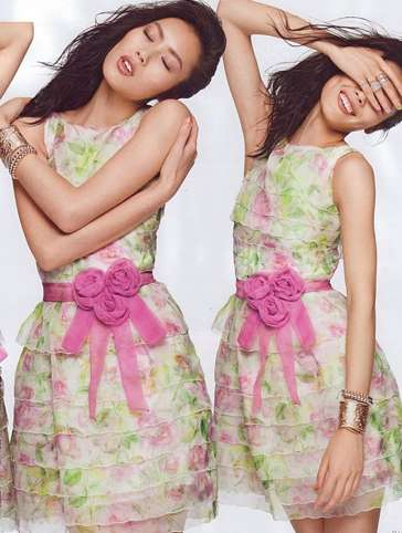 Graceful Doppelganger Shoots - Elle Singapore Features Liu Wen in Summer Dresses