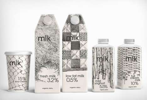 Pencil-Drawn Packaging - MLK Dairy Products' Branding has a Personal Touch