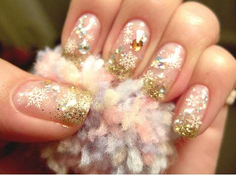 Sparkling Snowflake Nails