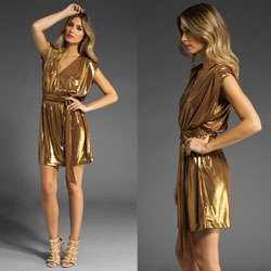 Glamorous Gilded Gowns - Ring in the New Year in the Halston Heritage Shirred Shoulder Short Dress