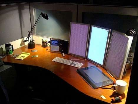 Linear Layout Screens Show a Portrait Computer Monitor