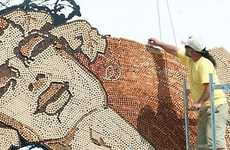Corkscrew Mosaics - Saimir Strati's Wine-Bottle Cork Art is a Wondrous Wooden Wall Painting