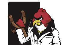 Avian Gangster Apparel - The Angry Birds as Scarface Shirt is a Pop Culture Mashup