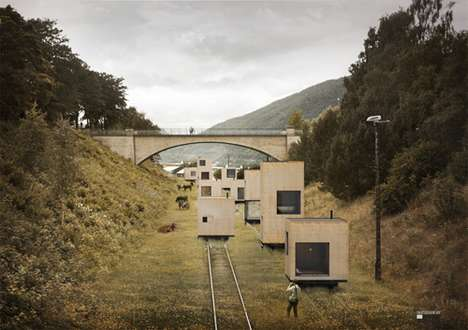 Temporary Cargo Structures - Jagnefalt Milton 'Switching City' Rolls Residences in by Rail
