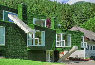 Astroturf Houses - An Austrian Concrete House Celebrates Cubism in a Green Way