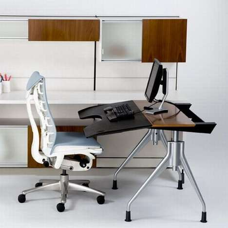 Motorized Office Desks - The Herman Miller Envelop Desk Promotes Healthier Work Positions