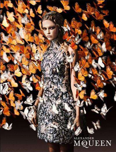 Mystic Butterfly Dresses - A Sneak Peak of the Alexander McQueen Spring Summer Ads