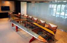 Airplane-Inspired Furniture - The Wing Conference Table Was Modeled After the Waco Biplane