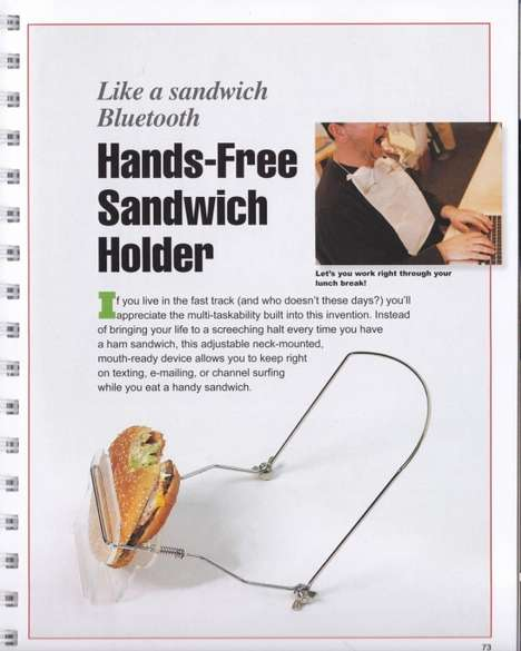 Multitasking Meal Accessories - The Hands-Free Sandwich Holder is Hilarious