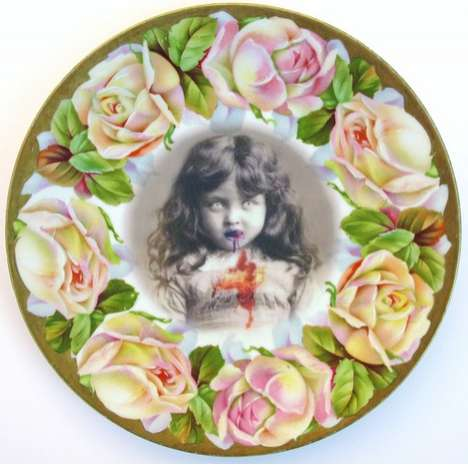 Beatupcreations Transforms Old Plates into Gruesome Modern Portraits