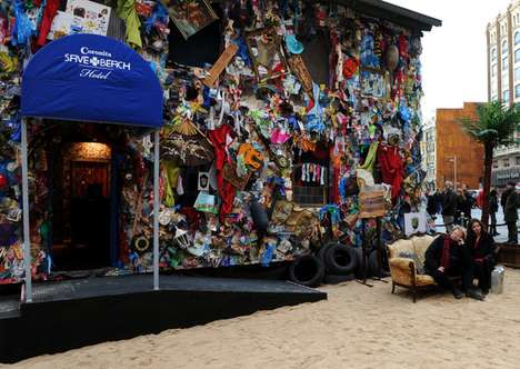 Recycled Refuse Tourism - The Beach Garbage Hotel in Madrid is Built from Cast-Off Rubbish