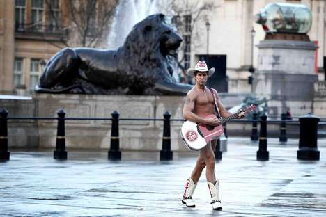 Iconic Buskvertising - Naked Cowboy Heads to Leicester Square to Perform 'Ode to the Bagel'