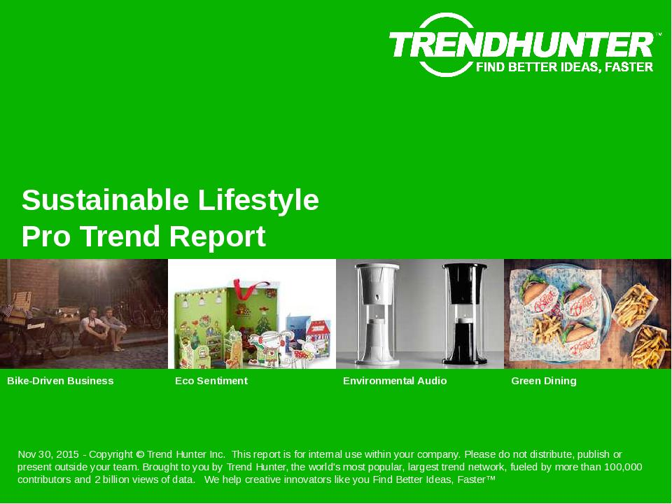 Sustainable Lifestyle Trend Report Research