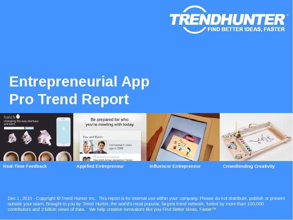 Entrepreneurial App Trend Report Research