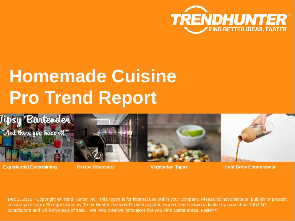 Homemade Cuisine Trend Report Research