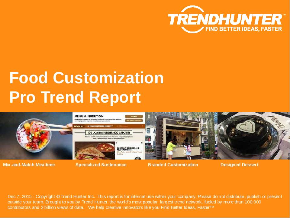 Food Customization Trend Report Research