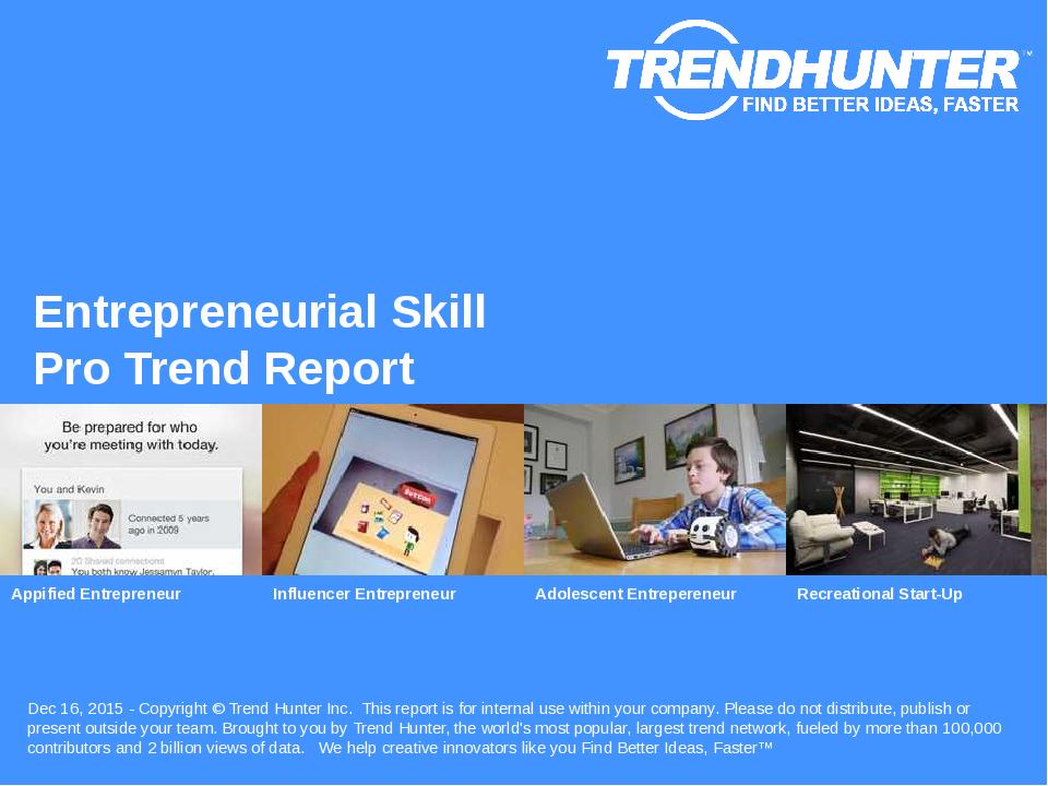 Entrepreneurial Skill Trend Report Research