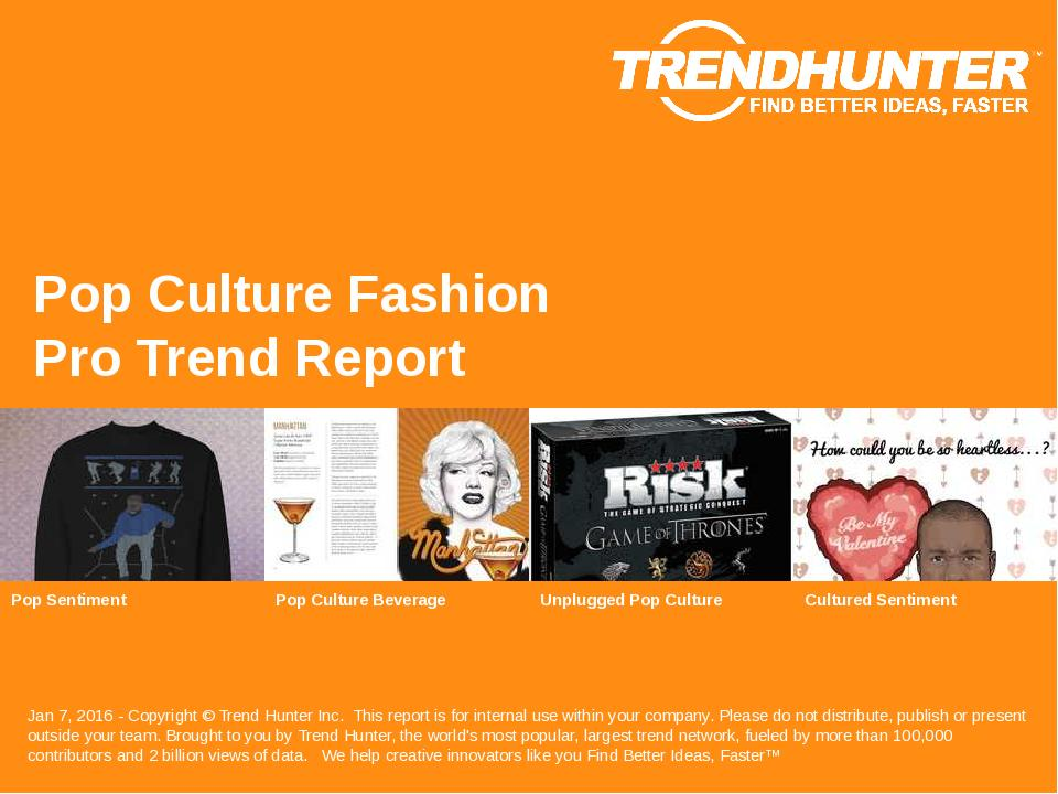 Pop Culture Fashion Trend Report Research