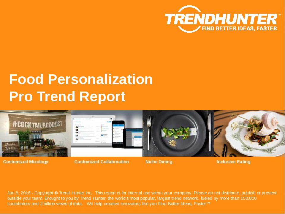 Food Personalization Trend Report Research