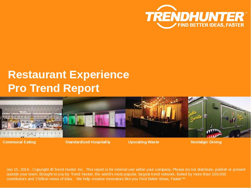 Restaurant Experience Trend Report Research