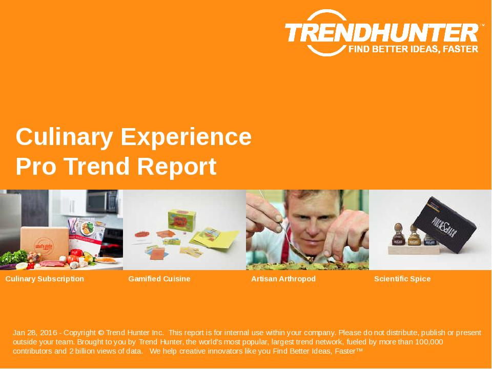 Culinary Experience Trend Report Research