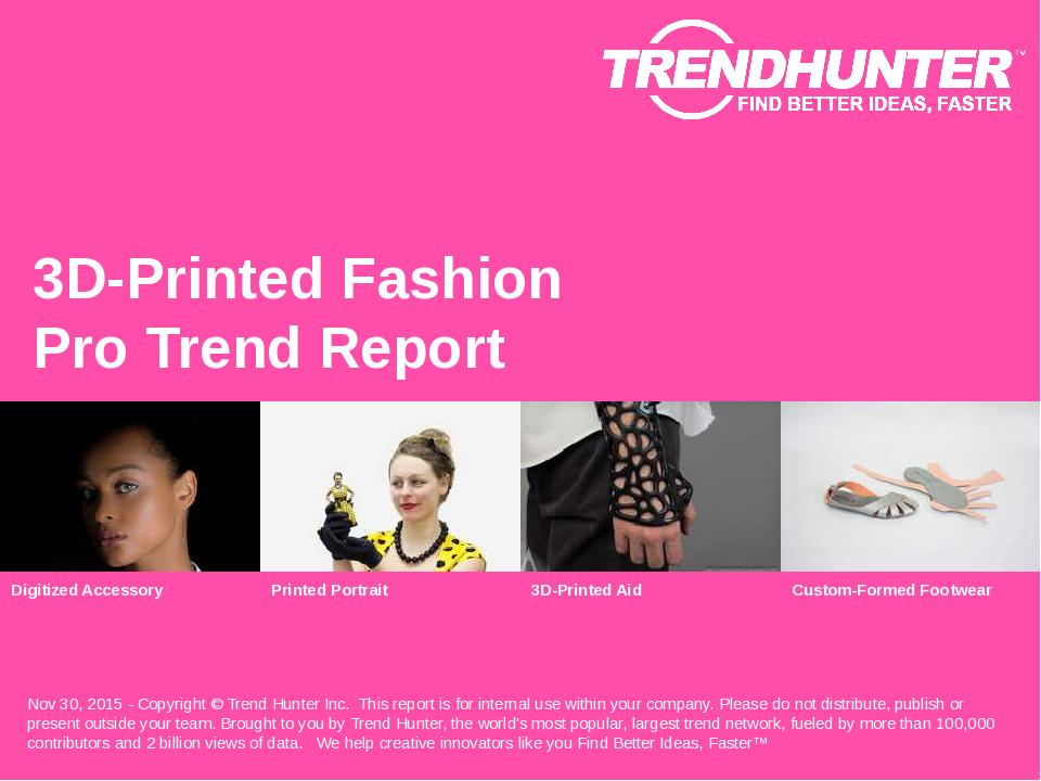 3D-Printed Fashion Trend Report Research