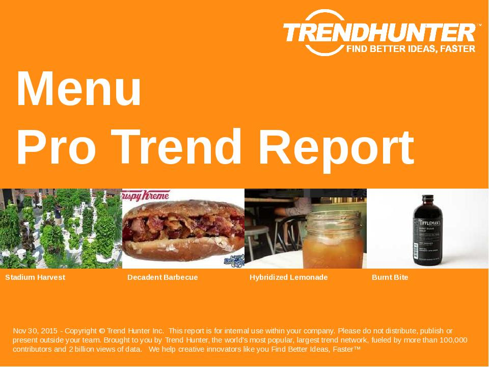 Menu Trend Report Research
