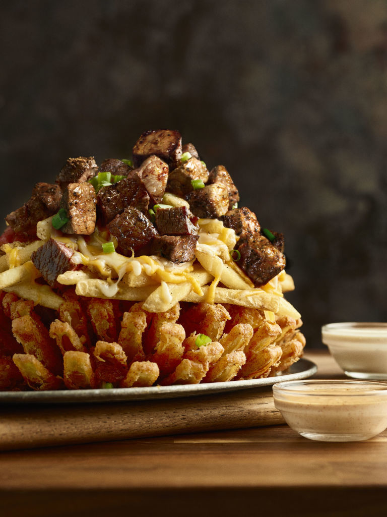 Towering Steak-Topped Appetizers