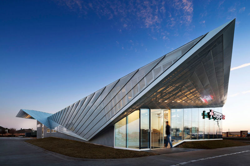 Perforated Angled-Roof Architecture