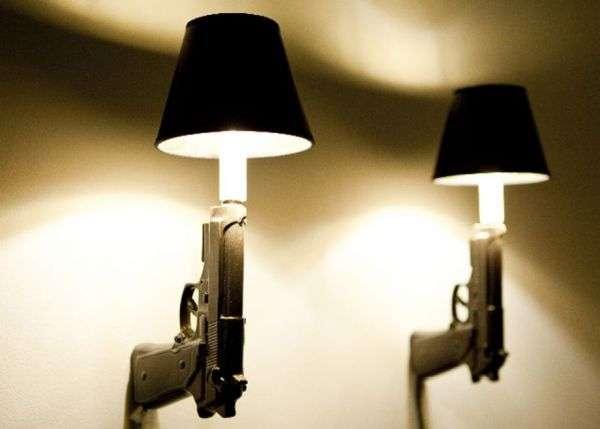Firearm-shaped Light Fixtures : 9mm Gun Sconce