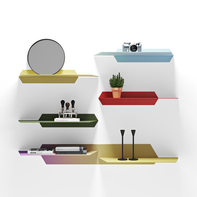 Sunset-Inspired Shelving Units