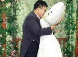 Cushy Nuptials : korean man marries pillow