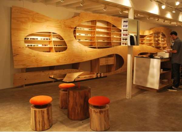 Wavy Wooden Interiors The A Kinney Court Store Is A
