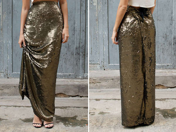 Sequin-Encrusted Maxi Skirts
