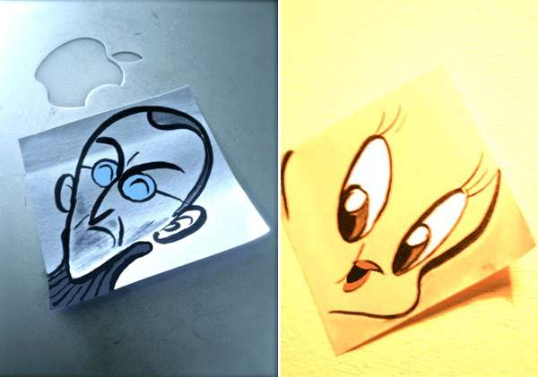 Cartooned Sticky Notes