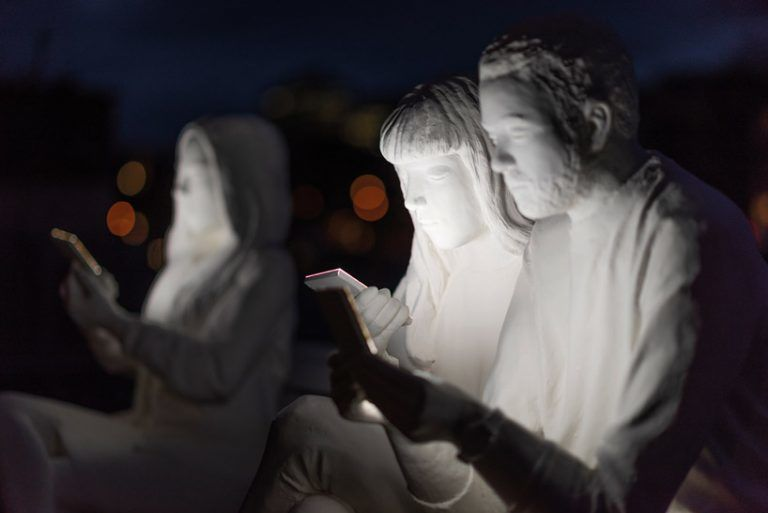 Tech Addiction Spotlighting Exhibits Absorbed By Light