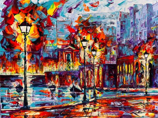 prismatic cityscape paintings acrylic paintings