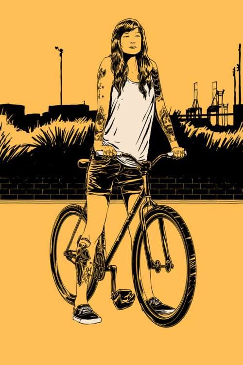 Poly-Hued Bicyclist Drawings