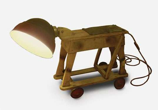 Wooden Dog Lamps