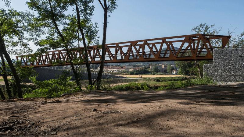 Rusted Pedestrian Truss Bridges