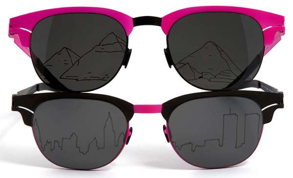 Skyline-Etched Sunglasses