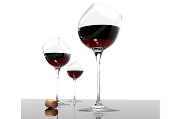 drunken slanted stemware alvaro uribe tipsy wine glass. Black Bedroom Furniture Sets. Home Design Ideas