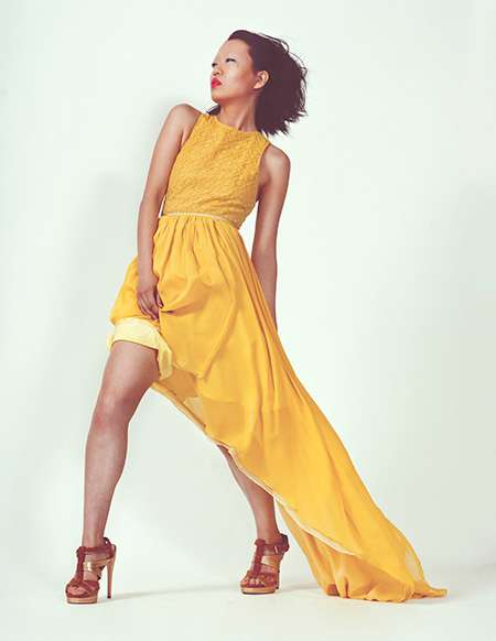 Asymmetrical Canary Gowns