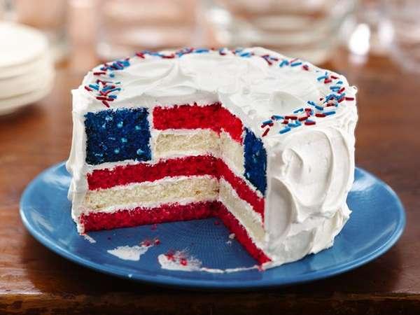 Festive American Flag Cakes
