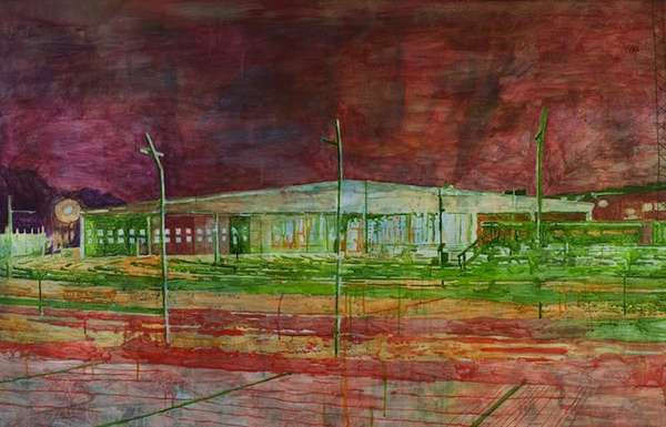 Neon Urban Landscape Watercolors